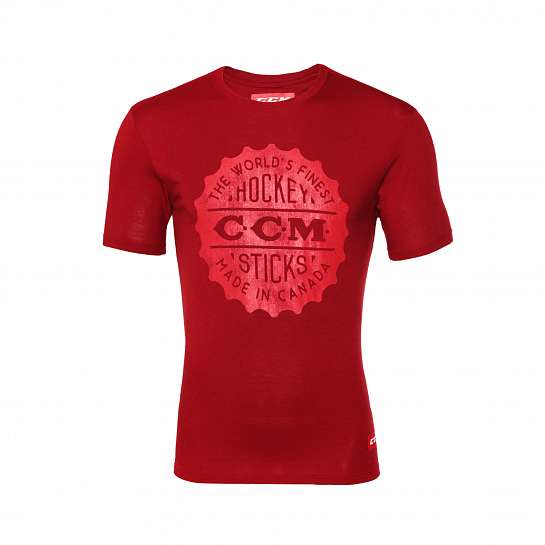 Футболка муж.T4753 CCM HERITAGE BOTTLE CAP LOGO SS CHICAGO TEE Carnelian Red